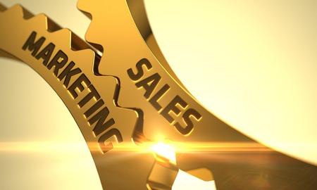 Photo pour Sales Marketing on the Mechanism of Golden Cogwheels with Lens Flare. 3D. - image libre de droit