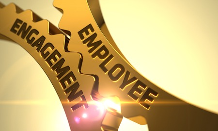 Photo for Employee Engagement on Mechanism of Golden Gears with Lens Flare. 3D Render. - Royalty Free Image