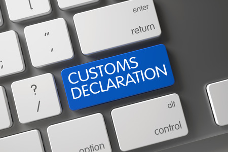 Photo pour Customs Declaration Concept Modern Keyboard with Customs Declaration on Blue Enter Keypad Background, Selected Focus. 3D Render. - image libre de droit