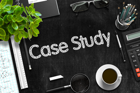 Photo for Black Chalkboard with Case Study Concept. 3D Rendering. - Royalty Free Image