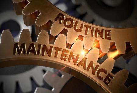 Photo pour Routine Maintenance Concept. Golden Gears. 3D Illustration. - image libre de droit