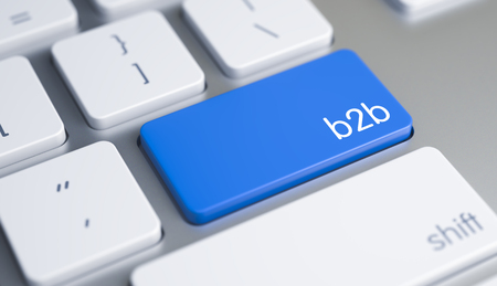 Photo for B2B - Message on Blue Keyboard Button. 3D. - Royalty Free Image
