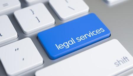 Foto de Legal Services - Message on Blue Keyboard Key. 3D. - Imagen libre de derechos