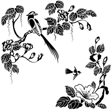 Flowers and birds in the Oriental style. Black and white vector can be  repainted  in any color.
