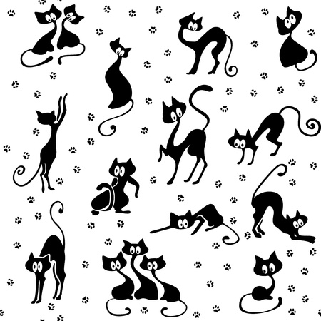 A lot of black cats in various poses. Their tracks. Seamless.