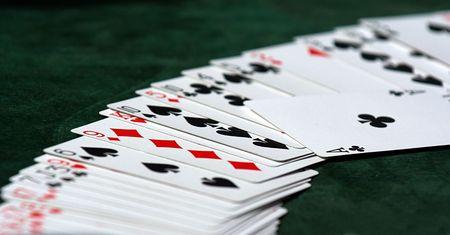 Cards on green casino table, Las Vegas