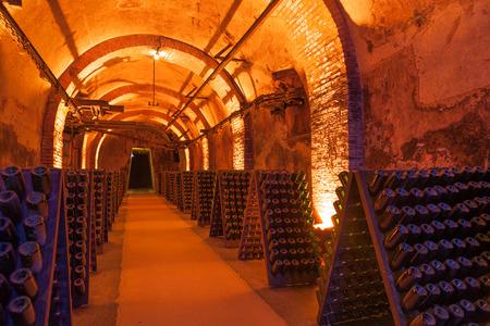 Photo pour Rows of dusty champagne bottles in Reims cellar, France - image libre de droit