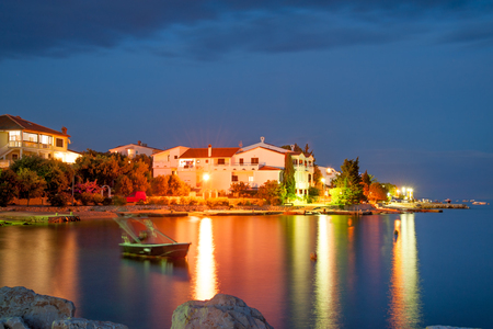 Foto de Nighttime view of Simuni village on Pag island, Croatia - Imagen libre de derechos