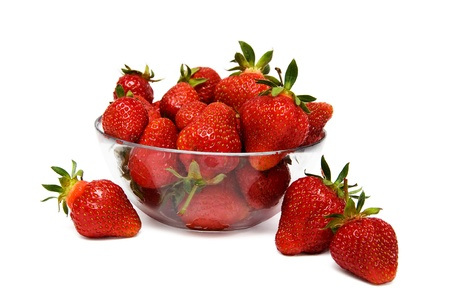 Photo for strawberries in a glass bowl isolated on a white background - Royalty Free Image