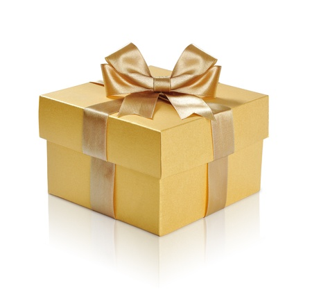 Photo for Golden gift box with golden ribbon over white background. Clipping path included. - Royalty Free Image