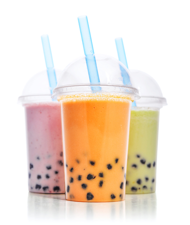 Photo for Various Bubble Tea in a plastic cups with drink straws isolated on white background. Take away drinks concept. - Royalty Free Image