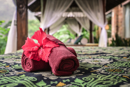 Photo for Canopies for massage with towels in resort on Bali island closeup - Royalty Free Image