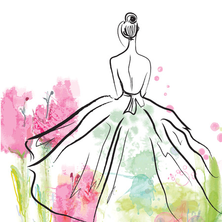 Ilustración de Fashion girl in beautiful dress - sketch on the floral background - Imagen libre de derechos