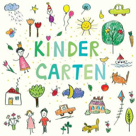 Illustration pour Kindergarten banner with funny kids drawing - vector design - image libre de droit