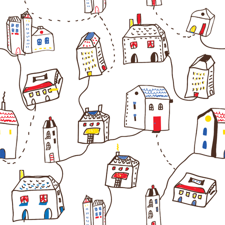 Illustration pour Funny houses in the town seamless pattern - vector graphic illustration - image libre de droit