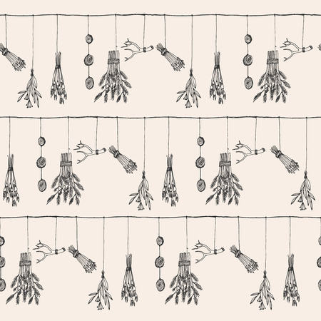 Illustration pour Hand drawn dry herb and plants garland illustration in vector. Nature seamless pattern. - image libre de droit
