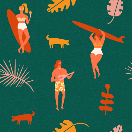 Beach summer vacation seamless pattern in vector. Retro art deco poster