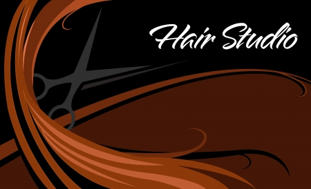 Illustration for hair studio business card - Royalty Free Image