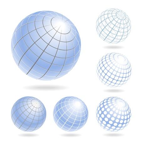 Vector design elements of light blue globes