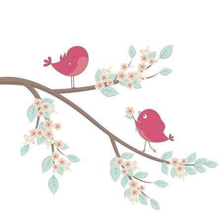 Cute pink birds on a branch with flowers