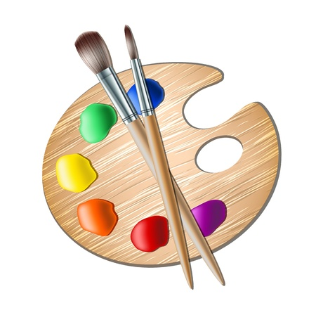 Illustration pour Art palette with paint brush for drawing   - image libre de droit