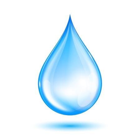 Blue shiny water drop  Vector illustration