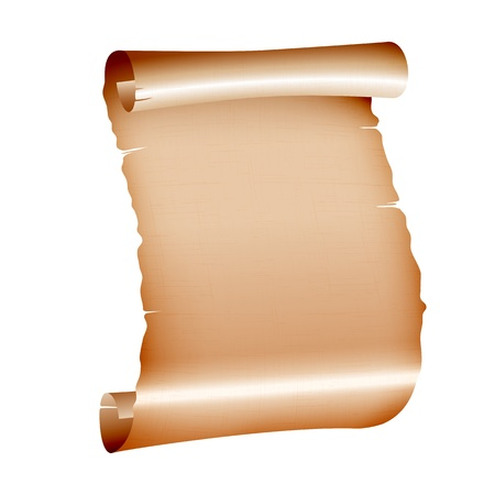old blank scroll paper on white background vector illustration