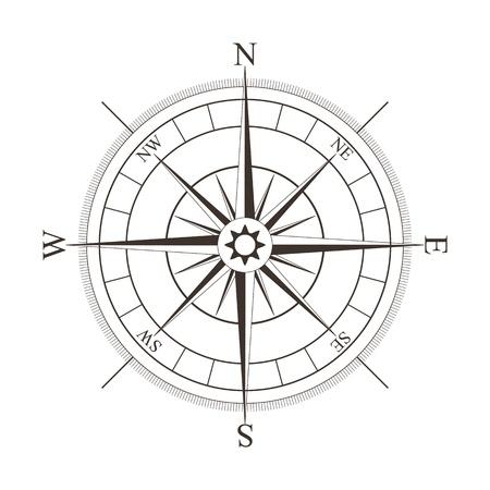 Ilustración de Black compass rose isolated on white - vector illustration - Imagen libre de derechos