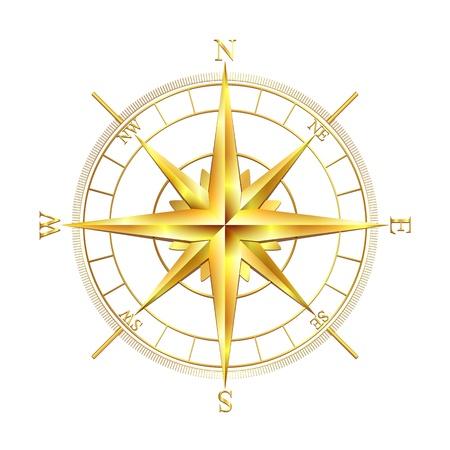Ilustración de Golden compass rose, isolated on white background  Vector illustration - Imagen libre de derechos