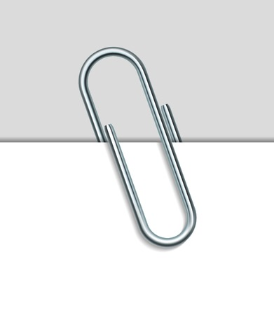 Illustration pour Metal paper clip and paper isolated on white background. Vector Illustration - image libre de droit