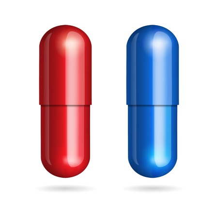 Ilustración de Blue and red pills on white background   - Imagen libre de derechos