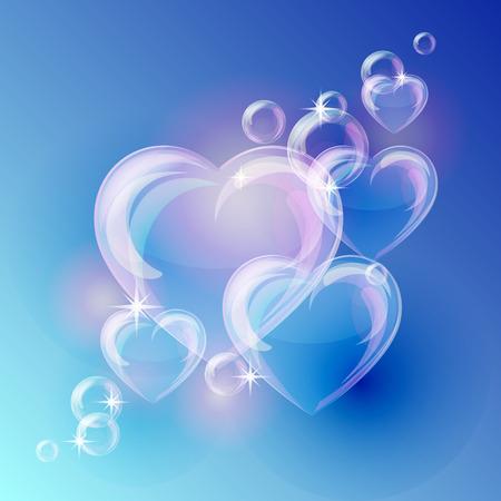 Illustration pour Romantic background with bubble hearts shapes on blue background. Vector illustration - image libre de droit