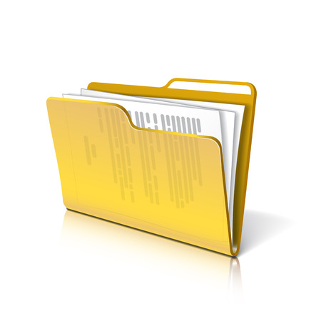Ilustración de Yellow transparent folder with papers. Document icon.  - Imagen libre de derechos