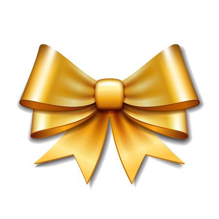 Illustration pour Golden vector gift bow on white background. Vector illustration Eps 10. - image libre de droit