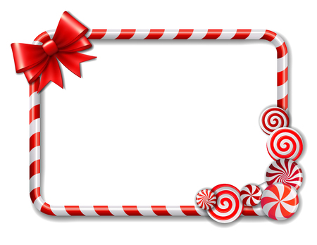 Ilustración de Frame made of candy cane, with red and white candies and red bow. Vector illustration - Imagen libre de derechos