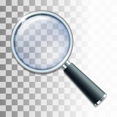 Ilustración de Magnifying glass on transparent background. Vector illustration - Imagen libre de derechos