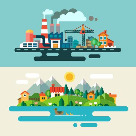 Ilustración de Urban and village landscape. Ecology environmental protection: production factory plant pollution smoke building. Flat illustrations - Imagen libre de derechos