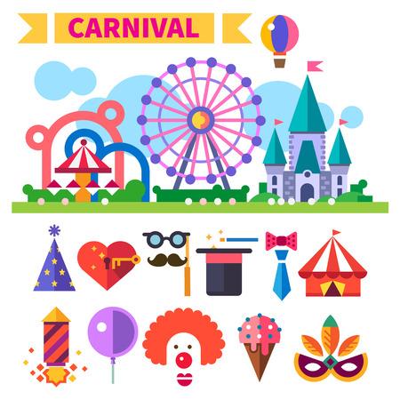 Illustration pour Carnival in amusement park. - image libre de droit