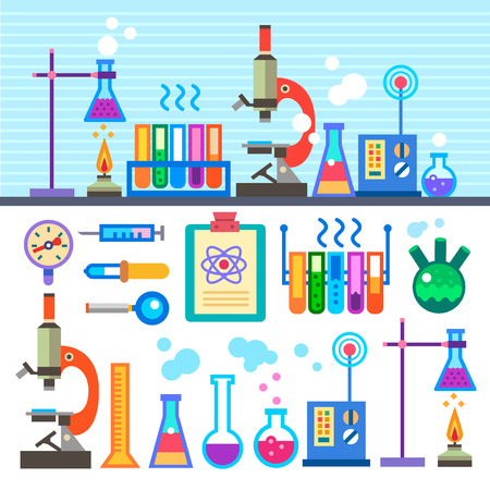 Illustration pour Chemical Laboratory in flat style Chemical Laboratory.  - image libre de droit