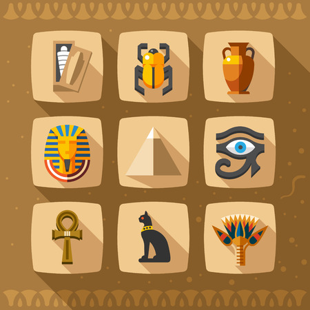 Illustration pour Egypt icons and design elements isolated. Collection of ancient Egypt icons - image libre de droit