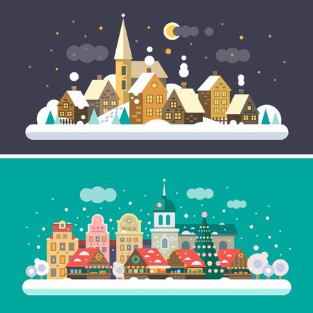 Illustration pour Christmas time. Urban and Village landscapes - image libre de droit