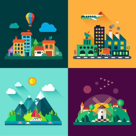 Illustration pour Color vector flat icon set and illustrations urban and village landscapes: nature mountains lake boating vacation sun trees house mills field city factory pollution cars skyscrapers - image libre de droit