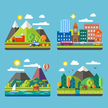 Ilustración de Color vector flat illustrations urban and village landscapes: nature mountains lake hay deer ship vacation sun trees house mills field city cars skyscrapers - Imagen libre de derechos