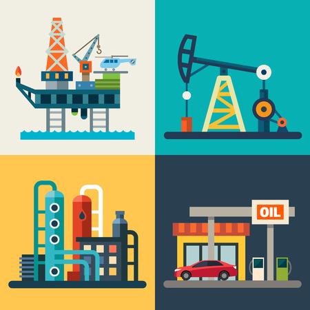Illustration pour Oil recovery oil rig a gas station. Vector flat illustrations - image libre de droit