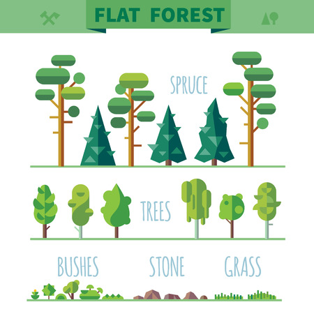 Illustration pour Set of different trees rocks grass. Sprites for the game. vector flat forests illustrations - image libre de droit