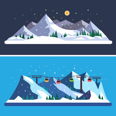 Illustration pour Ski Resort. Mountain landscapes. Vector flat illustrations - image libre de droit