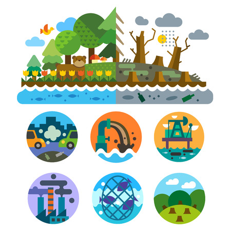 Ilustración de Ecological problems: pollution of water earth air deforestation destruction of animals. Mills and factories. Forest landscape. Environmental protection. Vector flat illustration and emblems set - Imagen libre de derechos