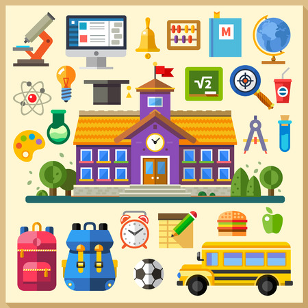 Foto de Education. School. University. Vector flat icon set and illustrations: building bus backpack schedule physics chemistry mathematics computer science on line training - Imagen libre de derechos