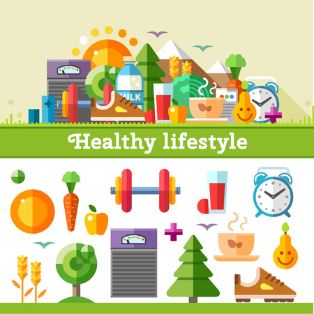Photo pour Healthy lifestyle. Vector flat icon set illustration: sport running exercise gymnastic walking in woods fresh air proper nutrition healthy food fruits vegetables vitamins cereals schedule - image libre de droit
