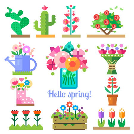 Illustration pour Flower shop. Hello spring and summer. Tulips cactus roses peonies. Vector flat illustrations icons and sprites for game - image libre de droit